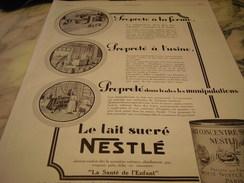 ANCIENNE AFFICHE PUBLICITE LAIT CONCENTRE SUCRE  NESTLE    1927 - Posters