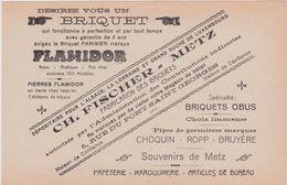 57,MOSELLE,METZ,1911,PUBLICITE,PUB,BRIQUET PARISIEN,FLAMIDOR,CH FISCHER,5 RUE DU PONT SAINT GEORGES - Publicités