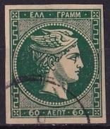 GREECE 1876-77 Large Hermes Head Athens Print 60 L Blue Green On Cream Paper Vl. 60 Superb ! - Oblitérés