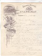 38 Grenoble, Grand Hôtel Vve J Primat,  Lettre Illustrée De 1895.belles Lithos, Tb état. - France