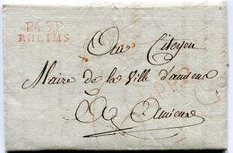 MARNE De REIMS LAC De La Mairie  Du 17/03/1802 Linéaire Rouge De Port Payé 25x9,5+ Verso Taxe De 4+ Cachet - Postmark Collection (Covers)