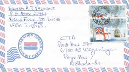 St Lucia 2000 Vieux Fort Royal Navy Frigate Squadron Flag 55c Cover - St.Lucia (1979-...)