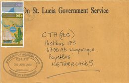 St Lucia 2004 Castries Independence Banana Fruit 20c 95c Official Cover - St.Lucia (1979-...)