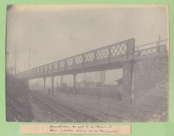 LA PLAINE SAINT DENIS : Reconstruction Du Pont 2, Situation Ancienne, 1909. Quadruplement Ligne Paris.Photo Originale - Trains