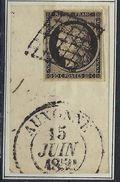 France N° 3 Oblitéré Auxonne ( Côte D'Or ) Cachet à Date Type 13 TB - 1849-1850 Cérès