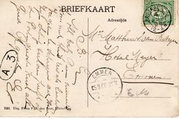 4 AUG 08 Kleinrond WESTKAPELLE Op Ansicht Met Vuurtoren Naar Emmen - Periode 1891-1948 (Wilhelmina)
