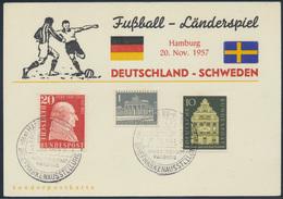 Bund Anlaßkarte MIF 277+279+ Berlin 140 SST Harburg Fußball Länderspiel Schweden - BRD