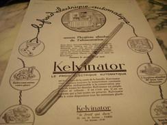 ANCIENNE AFFICHE  PUBLICITE LE FROID DE KELVINATOR 1927 - Publicité