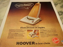 ANCIENNE AFFICHE PUBLICITE ASPIRATEUR HOOVER 1977 - Publicité