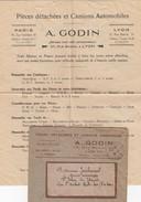LETTRE PUBLICITE. 11.8.1930. A.GODIN LYON. CAMIONS AUTOMOBILES. LIQUIDATION DU CAMPDE VERNEUIL TRACTEURS NASH-QUAD - 1921-1960: Moderne