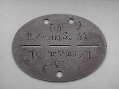 Plaque D'identité Allemande Erkennungsmarke 2 - 1939-45