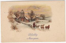 'Gelukkkig Nieuwjaar' - Landschap Met Schapen  - 1915 - Holland/Nederland - (AMAG No. 1190) - Nieuwjaar