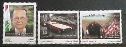 Liban 2017 Nouvelle Emission 3 Valeurs ** MNH - President Michel Aoun, Le Retrour Du Drapeau, Le Palais Du Peuple - Lebanon