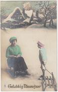 'Gelukkkig Nieuwjaar' - Sleetje Rijden  - 1918 - Holland/Nederland - (PFB 4190/5) - New Year
