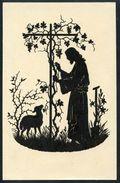 Jesus Beim Rebstock Mit Lamm, Ostern, SKünstlerkarte Josefin Allmayer, - Scherenschnitt - Silhouette