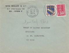 LETTRE. LYON. 16.9.74. 1° JOUR TARIF PNU - France