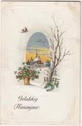 'Gelukkkig Nieuwjaar' - Winterscene, Hoefijzer - 1924 - Holland/Nederland - (IND 614) - Nieuwjaar