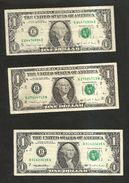 U.S.A. - United States Of America - 1 DOLLAR  - SERIES 1988 A / 1988 A / 1995 - Lot Of 3 Different Banknotes - Federal Reserve Notes (1928-...)