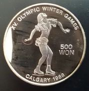 "NORTH KOREA 500 WON 1989 SILVER PROOF  ""Calgary Winter Olympics 1988""  Free Shipping Via Registered - Korea (Noord)"
