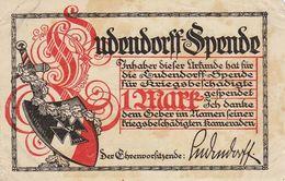 Ludendorff Spende Bon Allemand WWI Guerre Combattant Invalide Blessé Signé Rommel - Documenten
