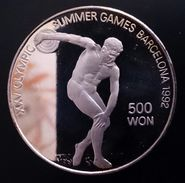 "NORTH KOREA 500 WON 1989 SILVER PROOF  ""Barcelona Summer Olympics 1992""  Free Shipping Via Registered Air Mail - Korea, North"
