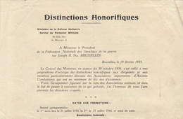 1935 Condition D'obtention De Médaille Décoration Pour Les Anciens Combattants Recto Et Verso - Coins & Banknotes