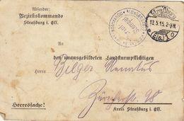 Carte Militaire Bezirkskommando Strasburg Guerre WWI  1915 - Documenten