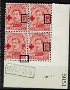 153 Bloc 4  Cdf  5051  Dépôt 1913  LV 1  1 Et 0 Liés  LV 24  Bavure C  LV 18 Cadre Inf. Déformé LV 25 Sans Tête 1 - 1918 Croix-Rouge