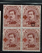 155 Bloc 4  **  T1 Et 2  Surch Brunâtre Et LV 40  Accent GIE - 1918 Croix-Rouge
