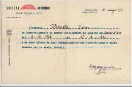 AUTO CAR VOITURE CEIRANO SOCIETA' AUTOMOBILI TORINO - DOCUMENTO ORIGINALE DI FINE RAPPORTO 1931 - Old Paper