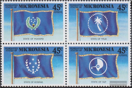 Mikronesien 119-122 Block Of Four (complete Issue) Unmounted Mint / Never Hinged 1989 Flags The Bundesstaaten - Micronesia
