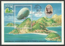 ST THOMAS AND PRINCE 1979 ROWLAND HILL UPU ZEPPELIN AIRCRAFT M/SHEET SLIGHT SECOND MNH - Sao Tome And Principe