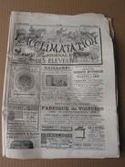 L' Acclimatation Journal  Décembre 1886 ( Logo Chasse à Courre Chiens Poules, Coq Canard, Pigeons) Publicité Microscope - Newspapers