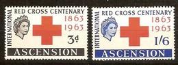 Ascension 1963 Yvertn° 91-92 (*) MLH Croix Rouge Rode Kruis Cote 15 Euro - Ascension (Ile De L')