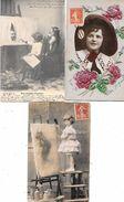 ENFANTS : 3 Cpa ENFANTS ARTISTEs  PEINTRES - PALETTE  PINCEAUX    1902 ET 1908  Peinture - Roses Et Feuilles Gaufrées - Portraits