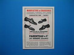 (1937) Manufacture De Chaussures - PARENTEAU - Les Herbiers (Vendée) -- Baguettes, Lisérés F. LAGISQUET à Bordeaux - Non Classés