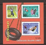 New Zealand 2003 Children's Health Child Playgrounds Games Childhood Children Playing Game S/S Stamps MNH - Blocks & Sheetlets