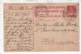Suisse: EP. Carte Postale Ayant Circulée En 1918  En Suisse De 10 Ct (timbre Type 126) - Entiers Postaux