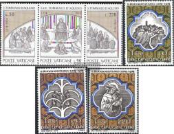Vatikanstadt 640-642 Triple Strip, 643-645 (complete Issue) Unmounted Mint / Never Hinged 1974 Holy. Thomas, Holy. Bonav - Unused Stamps
