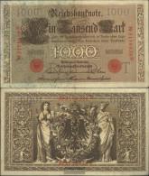 German Empire RosbgNr: 45c, Red Seal 7stellige KN, 1921-1925 Uncirculated 1910 1.000 Mark - [ 2] 1871-1918 : German Empire