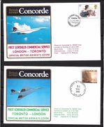 T 00560 - Concorde 1er Vol Londres - Toronto Et Toronto - Londres Avec Certificats - Concorde