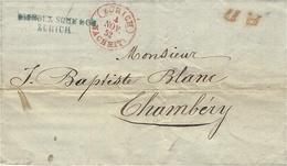 1852- Lettre En Port Payé De Zurich + P.D. Rouge Pour Chambéry ( Duché De Savoie ) - Switzerland