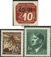 Bohemia And Moravia 51,64,142 (complete Issue) Unmounted Mint / Never Hinged 1939-1945 Complement Values - Nuovi