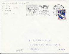 ARIEGE 09  -  LE MAS D'AZIL - FLAMME N° 1297   - (VOIR DESCRIPTION)  1963 -  TIMBRE N° 1353 TARIF 1.1.60 IMPRIME - Marcophilie (Lettres)