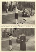 AUTOMOBILE VOITURE SIMCA 202 ? - SCOUT PRETRE - 2 PHOTOS 8,5x6 Cms - Automobiles