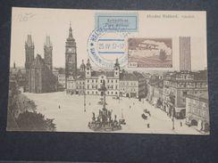 TCHÉCOSLOVAQUIE - Carte Postale Et Oblitération En Bleu De Hradec Kralové En 1937 Avec étiquette Par Avion - L 10374 - Tchécoslovaquie