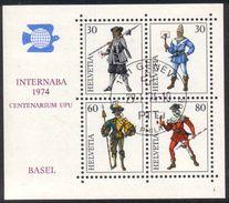 1974 Zu W 50 / Mi Bl 22 INTERNABA BASEL Obl. 1er Jour GENÈVE 29.1.74 - Blocks & Sheetlets & Panes