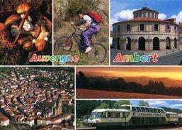 63 AMBERT Cepes De Bordeaux, Randonneur En VTT,Mairie, Eglise St ,Autorail Livradois Forez - Ambert