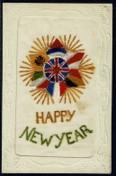 RB 1180 - WWI France Silk Military Postcard - Happy New Year - Star & Flags - Postcards