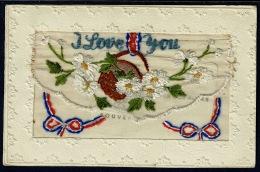 RB 1180 - WWI France Silk Military Postcard - I Love You - Flowers - Postcards